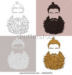 set of vector man luxuriant beard, mustache hair different colors