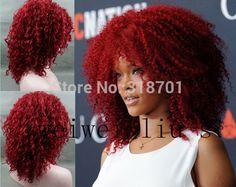 Nueva Moda Rihanna Peinado Sin Tapa Medio Sintético Peluca de pelo Rizado del Envío Libre