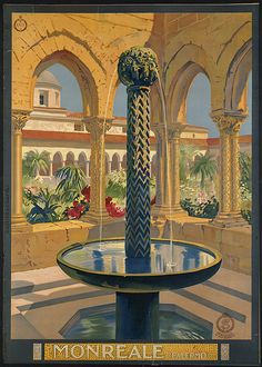 File name: 08_05_000053  Title: Monreale (Palermo)  Created/Published: Napoli [Naples] : Richter & C.  Date issued: 1910-1959 (approximate)  Physical description: 1 print (poster) : color  Genre: Travel posters; Prints  Subjects: Tourism; Fountains; Ente nazionale industrie turistiche (Italy)  Notes: Title from item.  Location: Boston Public Library, Print Department  Rights: Rights status not evaluated