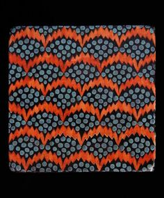 Haveli Pollen Tiles inOrange Blue A hand made and hand painted matte glazed terracotta tile from the Haveli Collection, with Neisha's signa...