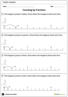 Teaching Resource: A 2 page worksheet to consolidate students' understanding of counting by fractions. Fractions Decimals And Percentages, Fractions Worksheets, Math Fractions, Maths Investigations, Pre And Post, Numeracy, Hands On Activities, Teaching Resources, Lesson Plans