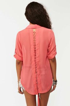Laced Tail Blouse - Coral | Shop What's New at Nasty Gal