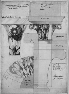 Column with magnolia leaves/flowers
