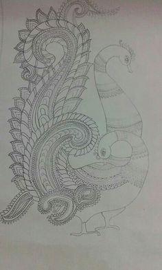 Saree Painting, Kalamkari Painting, Kerala Mural Painting, Indian Art Paintings, Fabric Painting, Tanjore Painting, Painting Art, Peacock Drawing, Peacock Painting