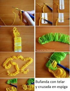 Como hacer Bufandas con Telar Espiga-Cruzada // ;D