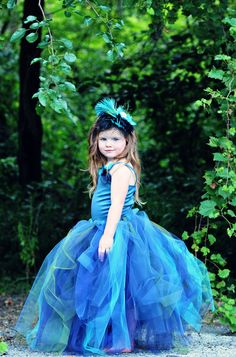 omg @Patience Meyer I can totally see iris in something like this for your wedding ~ Peacock Flower Girl Dress--Tutu--Satin Corset Top w Handmade Flowers----Weddings-Pageants-Portraits