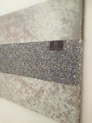 Luxury crushed velvet silver seal with stunning silver glitter wall art Large
