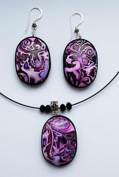 Polymer clay necklace and earrings: beautiful set, great colours, by Katya Tryfonova.