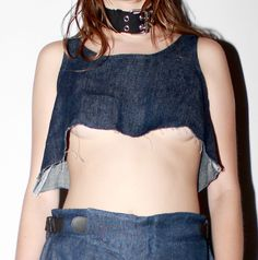 Samsara Denim Crop Top   #denim #crop #croptop #jeans #choker #samsara #shopblackarma #womenswear #streetwear #details #fashion