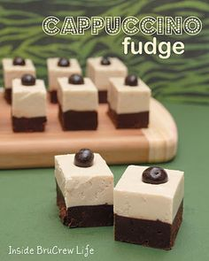 Chocolate and #coffee fudge layered to give you one decadent treat.  #cappuccino #chocolate