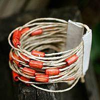 Bamboo and leather wristband bracelet, 'Amazon Orange' by Júh Vieira and Fernando Magriffi