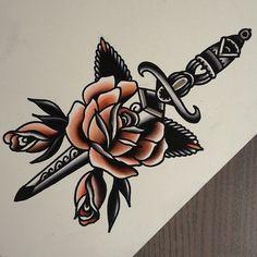 old school tattoo rose dagger - Google Търсене