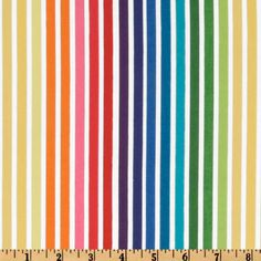 Remix Stripes Bright from @fabricdotcom  Designed by Ann Kelle for Robert Kaufman Fabrics, this cotton print fabric is perfect for quilting and craft projects as well as apparel and home decor accents. Colors include bright yellow, orange, lime, turquoise, pink, blue, purple and white.