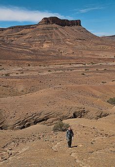 trekking the volcanic landscape around N'Kob in the Draa Valley of southern Morocco