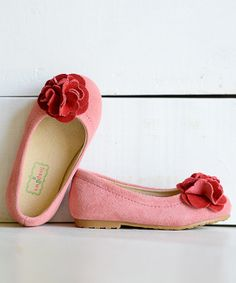 Pink & Red Rose Kate Suede Flat | Daily deals for moms, babies and kids