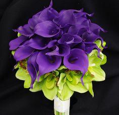 Wedding Purple Calla Lilies and Green Cymbidium Natural Touch