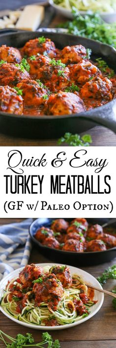 Quick and Easy Gluten-Free Turkey Meatballs | TheRoastedRoot.net #healthy #dinner #recipe