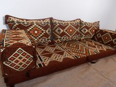floor seating,floor cushions,arabic seating,arabic cushions,floor sofa,oriental seating,furniture,majlis,jalsa,floor couch,arabic couch - MA 34. TRADITIONAL MIDDLE EASTERN ORIENTAL FLOOR SEATING SOFA Perfect for furnishing and decorating homes, hookah bars, hotels, cafeterias, etc. This handmade authentic Middle Eastern floor sofa will certainly add an element and mystic to any room or space. Our versatile floor sofa sets make the perfect finishing touch, wherever you may wish to use them...