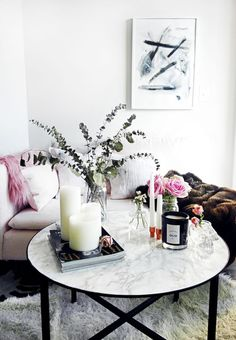 DIY marble coffee table with contact paper || Katherine Vo's home on The Everygirl