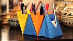 Como fazer um porta-lápis de origami