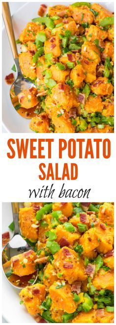 The BEST Sweet Potato Salad recipe — with bacon, crunchy veggies, and a zippy mustard dressing. Easy to make, perfect for picnics and barbecues, and I never have any leftovers! Paleo, gluten free and dairy free. Recipe at http://wellplated.com /wellplated/