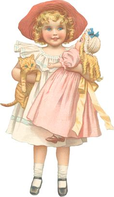 Little Girl with Cat and Doll – Victorian Scrap Decoupage Vintage, Vintage Paper Dolls, Vintage Ephemera, Antique Dolls, Vintage Postcards, Vintage Scrapbook, Vintage Girls, Vintage Children, Vintage Pictures