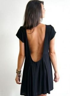 Love the deep, open back. Black Scoop Back Short Sleeve Dress, Dress, scoop back short sleeve dress, Casual Mode Chic, Mode Style, Style Me, Fasion, Fashion Outfits, Fashion Fashion, Vogue, Fashion Killa, Passion For Fashion