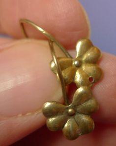 Vintage USSR Soviet Jewelry Drop EARRINGS Gold Plated Silver 875 marked 63K #63K #DropDangle