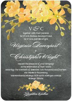 Wedding Invitations - Chalkboard Floral - Wedding Stationery by Wedding Paper Divas - Loverly Purple Wedding Invitations, Watercolor Wedding Invitations, Floral Invitation, Wedding Stationary, Bridal Shower Invitations, Invitation Design, Invites, Invitation Ideas, Chalkboard Invitation