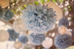 Duck egg blue paper pom poms