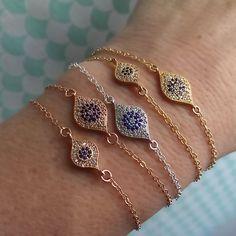 Evil Eye Bracelet Pavé CZs Good luck Bracelet by ShopSomethingBlue. SMALL GOLD