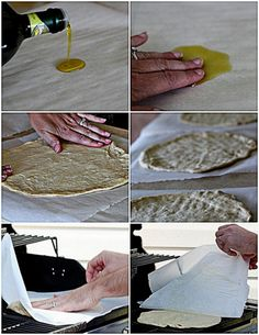 Parchment paper method for transferring pizza dough to your grill // Our very favorite pizza crust for grilling + 5 tips for grilling the perfect pizza | Kitchen Treaty