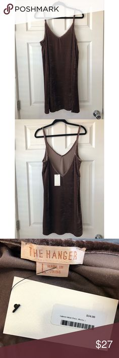 Velvet Mini Dress Super cute mocha color spaghetti strap velvet mini dress! Great for a girls night out.  NWT never worn. Bought from a boutique.  *Not Free People  Please use the measurements below for best fit.   Length- 36 1/2 in  Underarm to underarm- 18 in Free People Dresses Mini