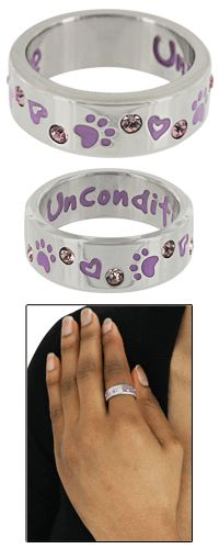 Purple Paw & Crystal Unconditional Love Ring at The Animal Rescue Site