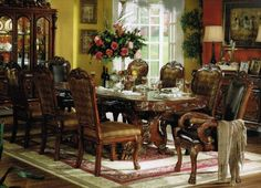 9pc Formal Dining Table & Chairs Set in Brown Cherry Finish $1839.87