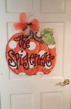 Personalized Polka Dot Pumpkin Door Hanger