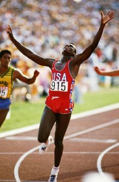 Carl Lewis won the first of his 9 Olympic gold medals in the 100 meters at the 1984 Olympics in Los Angeles, CA © Getty Images