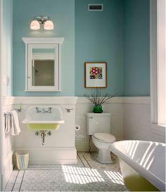 Azul turquesa, branco e amarelo para um banheiro cheio de frescor