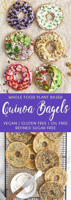 Quinoa Bagels plant based vegan vegetarian whole food plant based gluten free recipe wfpb healthy healthy vegan oil free no refined sugar no oil refined sugar free dairy free breakfast bagels quinoa cream cheese Whole Foods, Whole Food Recipes, Vegan Vegetarian, Vegetarian Recipes, Healthy Recipes, Easy Recipes, Gf Recipes, Quinoa Vegan, Vegan Quinoa Recipes