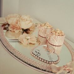 How to Decorate an Engagement Tray? Engagement Ring Platter, Engagement Ring Holders, Ring Holder Wedding, Wedding Crafts, Wedding Favors, Wedding Events, Engagement Decorations, Wedding Decorations, Thali Decoration Ideas