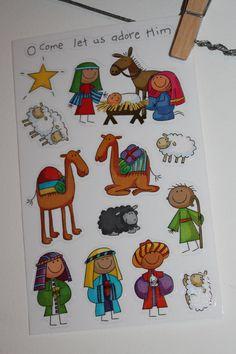 Christmas Story Nativity Scene set Stickers Holy Family Baby Jesus Advent Kit for blocks