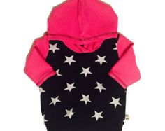 Check out Hoodie long sleeve baby kids toddler girl clothing. Girls outfit, hoodie stars, pink tee, Size 2 m - 2 y on minikibabyandkids