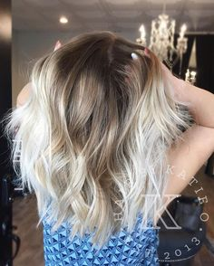Love my blondies! She wanted her blonde to be very icey so I did one of my favorite color formulations on her afters doing a full babylights and slicing combo!  Redken Shades EQ  Base shadow: 2/3 7n + 1/3 7v  Ends: 1/2 9n + 1/2 9v  Natural level 6 1/2ish****