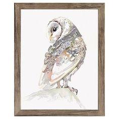 Framed Watercolor Owl 11