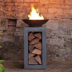 Fire Bowl With Square Cement Fibre Stand & Log Holder - The Farthing