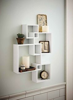 Generic Intersecting Squares Wall Shelf - Decorative Display Overlapping Floating Shelf - Home Decor Wall Art - Interlocking Shelves/Wall Cubes/Storage Cubes/Ledge Storage/Wall-Mounted Hutch, Set of 2 Candles Included - White - My Interior Design Ideas Unique Wall Shelves, Wall Shelves Design, Wood Shelves, Glass Shelves, Corner Shelves, Cube Shelves, Decorative Shelves, Wall Shelf Decor, White Shelves