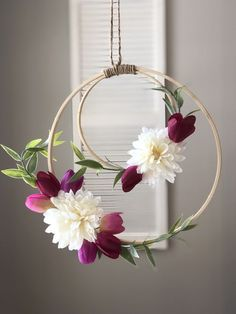 Boho floral dream catcher wreath The Amelia dreamcatcher is an elegant and beautiful wall hanging. The ring outer in diameter, with inner ring being in diameter. Both rings are accented with stunning faux flowers and greenery, in various Hanging Flowers, Paper Flowers, Flower Decorations, Wedding Decorations, Hanging Decorations, Wall Hanging Crafts, Home Crafts, Diy And Crafts, Floral Hoops