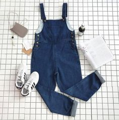 Item Type: BIb Material: Denim Sleeve Length: Sleeveless Sleeve Style: Standard Collar: Round Neck Pattern: Solid Color Style: Fashion Color: Dark Blue Size: XS (US size) Bust: Waist: Korean Fashion Trends, Fashion 101, Fashion Outfits, Style Fashion, Bib Overalls, Dungarees, Neck Pattern, Fashion Colours, Sleeve Styles