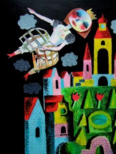 Clive Hicks-Jenkins: The Princess dreams, design for Stravinsky's The Soldier's Tale at the Hay Festival, with the Mid Wales Chamber Orchestra Green Knight, Sleight Of Hand, Jean Cocteau, Shadow Puppets, Magic Words, Old And New, Graphic Illustration, Fairy Tales, Childhood