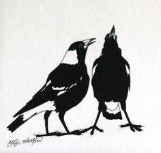 "Carol Thomson ""Magpies Singing"" 10 x acrylic Magpie Tattoo, Most Beautiful Birds, Australian Birds, Animal Silhouette, Textile Fiber Art, Feather Art, Abstract Nature, Bird Drawings, Pet Birds"